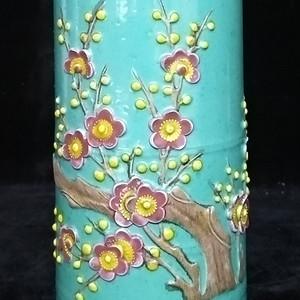 美国回流的松石绿雕瓷笔筒