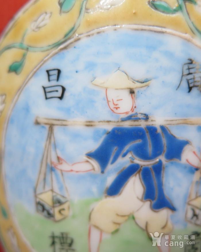 晚清广昌记红釉大罐图7
