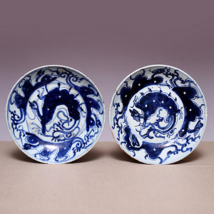 藏海淘 早清青花夔龙纹瓷盘一对JZ501