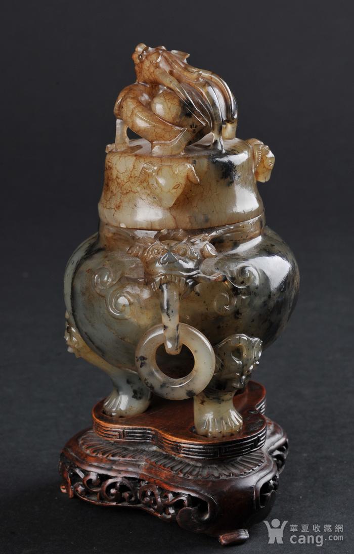 欧美回流 老玛瑙螭龙纹香炉带座图2