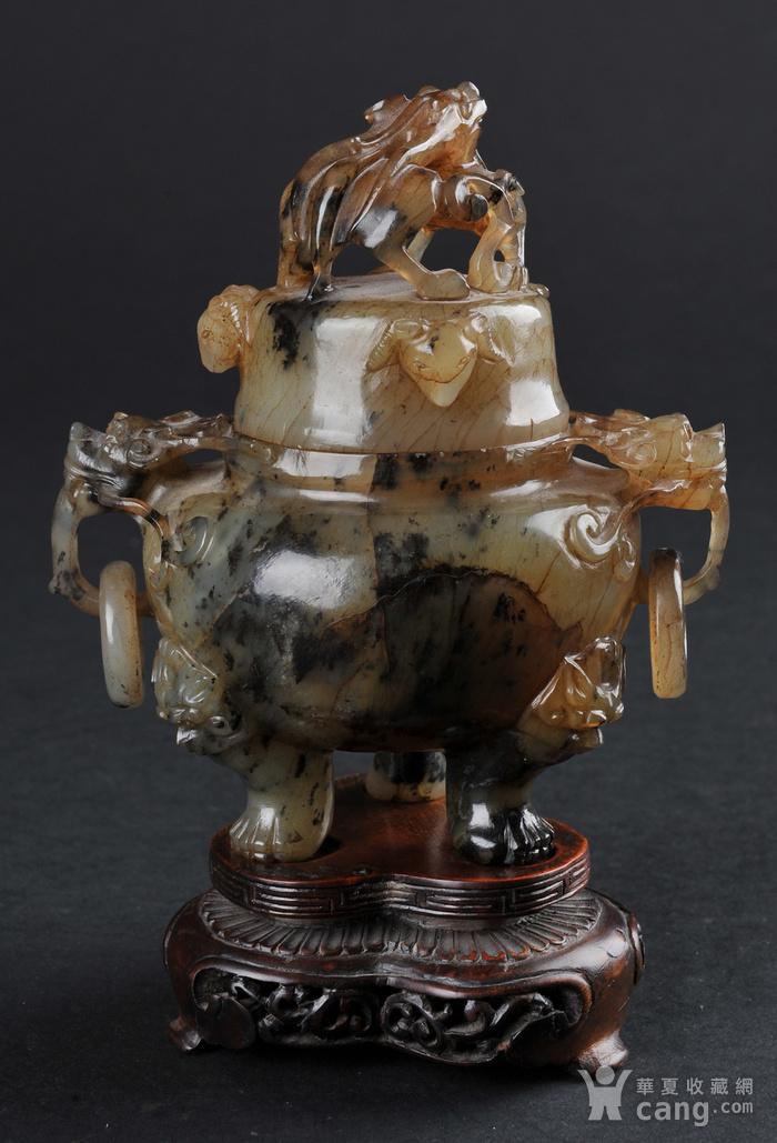欧美回流 老玛瑙螭龙纹香炉带座图3