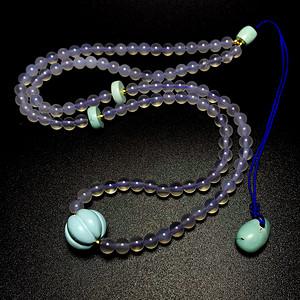 原创孤品!高瓷蓝松石纯天然原矿绿松石冰种玉髓佛珠项链手链