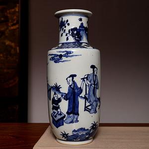 海淘阁 清款人物青花瓶 FA774