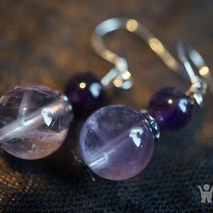 925天然紫水晶耳坠全新
