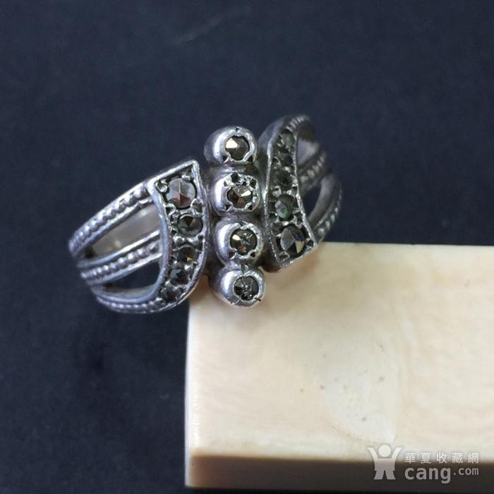 8045欧洲回流银嵌铁矿石戒指图1
