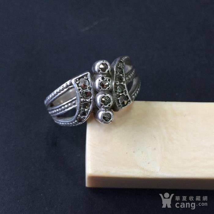8045欧洲回流银嵌铁矿石戒指图3