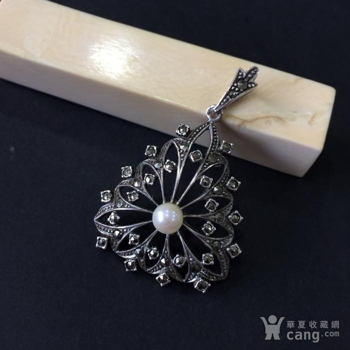 8046欧洲回流匈牙利50年代品牌制造银嵌珍珠铁矿石坠子图1