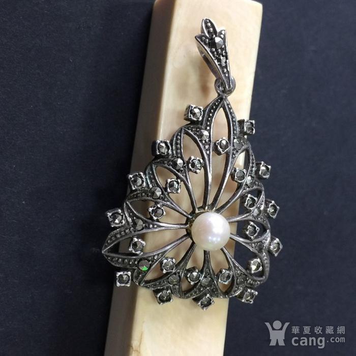 8046欧洲回流匈牙利50年代品牌制造银嵌珍珠铁矿石坠子图3