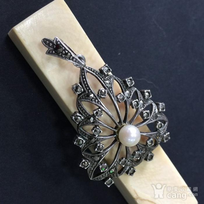 8046欧洲回流匈牙利50年代品牌制造银嵌珍珠铁矿石坠子图4
