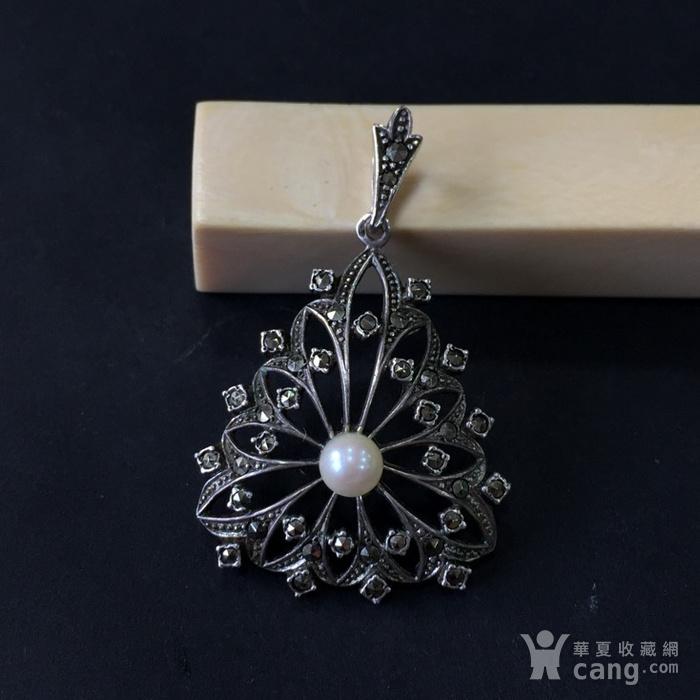 8046欧洲回流匈牙利50年代品牌制造银嵌珍珠铁矿石坠子图6