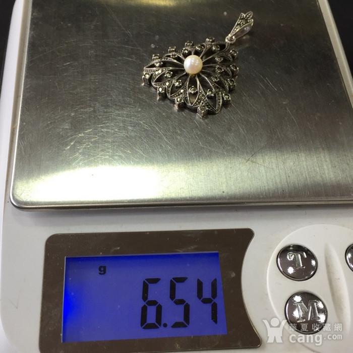8046欧洲回流匈牙利50年代品牌制造银嵌珍珠铁矿石坠子图7