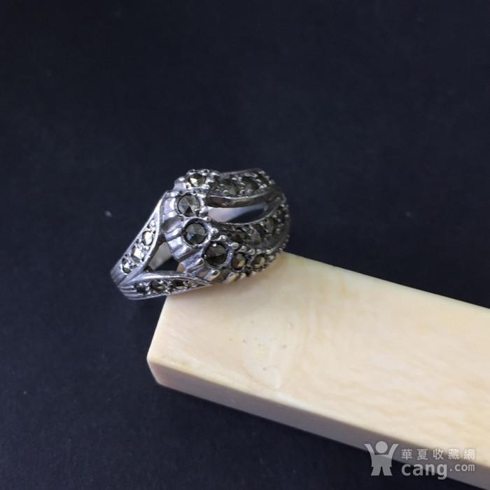 8048欧洲回流银嵌铁矿石戒指图1
