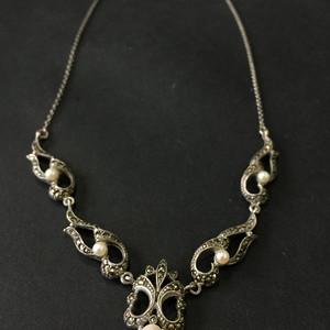 8050欧洲回流银嵌珍珠铁矿石礼服链