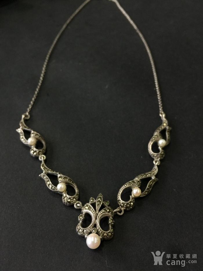 8050欧洲回流银嵌珍珠铁矿石礼服链图1
