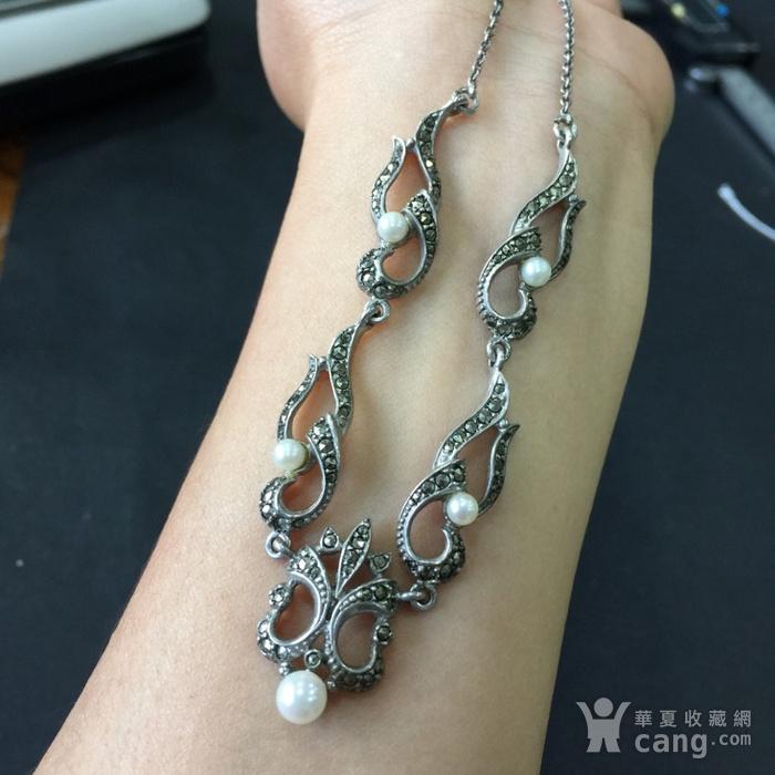 8050欧洲回流银嵌珍珠铁矿石礼服链图4