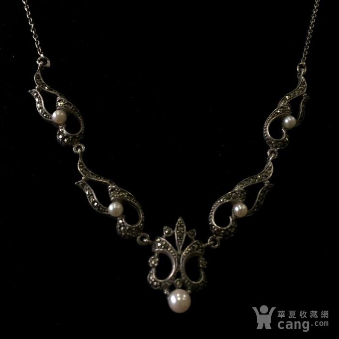 8050欧洲回流银嵌珍珠铁矿石礼服链图3