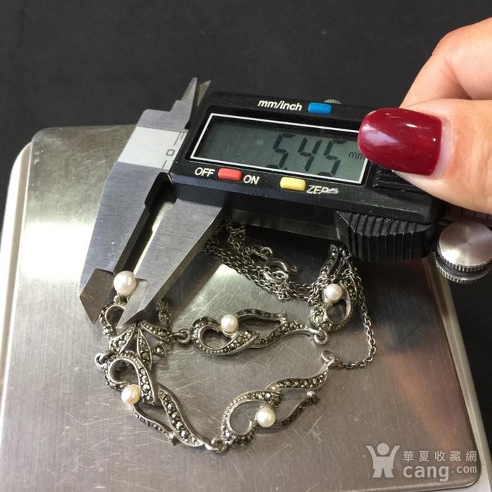8050欧洲回流银嵌珍珠铁矿石礼服链图8