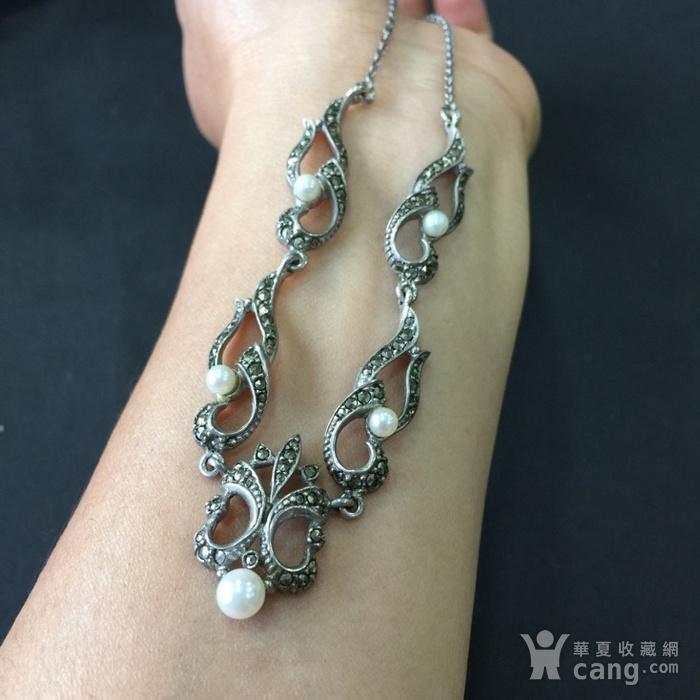 8050欧洲回流银嵌珍珠铁矿石礼服链图10