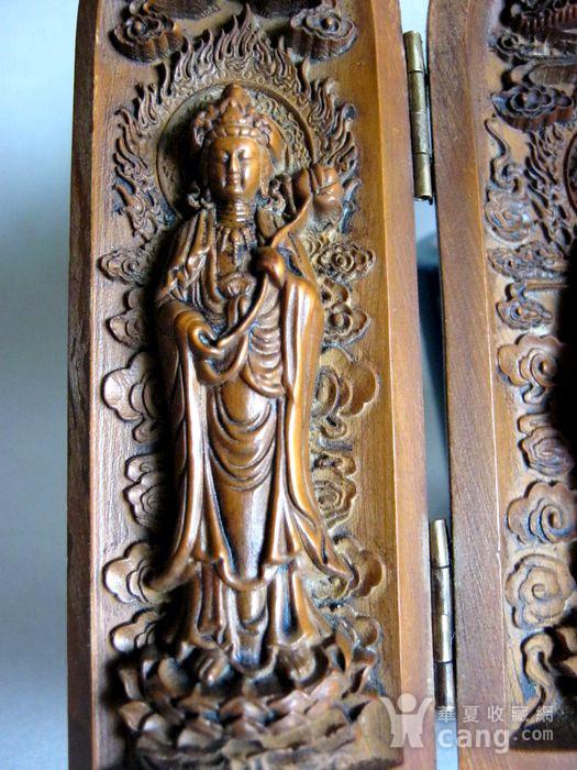 随身佛龛保平安 黄杨木雕观音佛图3