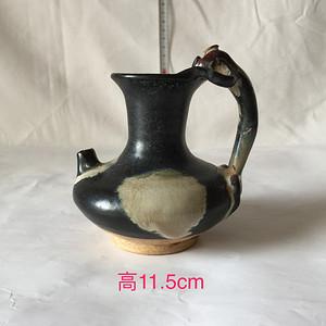 111 鲁山窑黑釉点彩龙柄壶A