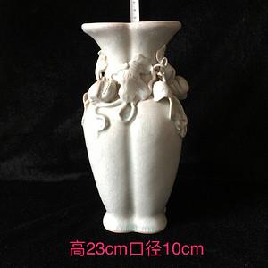 161 影青釉堆雕瓜瓞绵绵四方瓶  高23cm口径10cm   300
