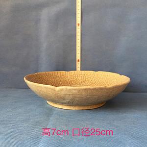 163 哥窑鹤纹葵口盘