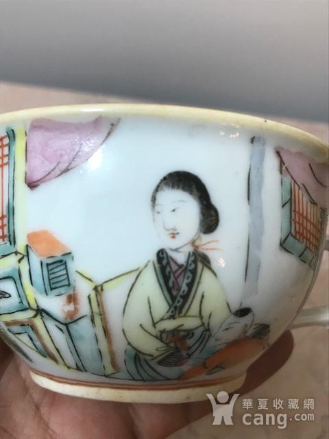 7021 清末浅绛彩美人如玉茶盏图6
