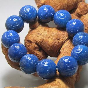 欧洲回流 宝石蓝玛瑙如意纹饰 圆珠手串