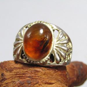 回流 琥珀戒面配纯银戒托戒指