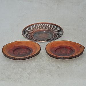 日本纯铜及木茶托三个