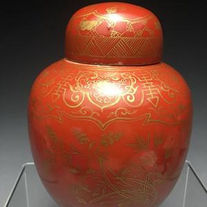 光绪珊瑚红描金罐