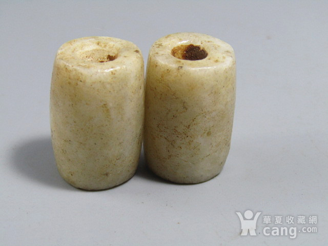 汉 白玉 勒子一对 包浆醇厚24x16mm图5