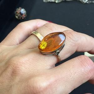 8071欧洲回流俄罗斯银鎏金琥珀戒指