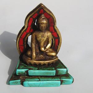 藏传老铜打造 藏佛 带佛光 镶嵌松石 包浆熟厚