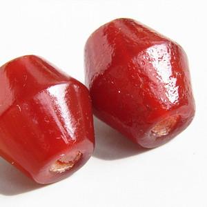 清红玛瑙  鼓腰珠 一对 包浆熟厚