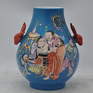 人物粉彩瓷瓶