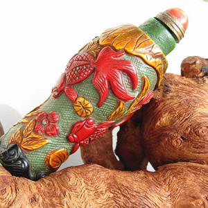 清带珊瑚盖 料器 年年有余 鼻烟壶手工雕刻 灵动古朴