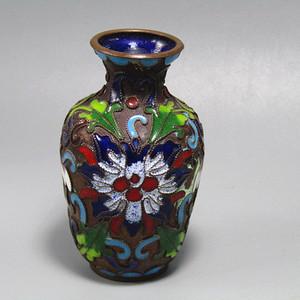 民国紫铜胎 珐琅彩 赏瓶