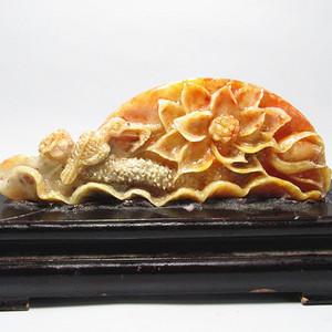 创汇时期寿山冻石 塘趣 摆件 手工精制雕刻