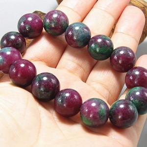天然缅甸 红绿宝石 圆珠手串