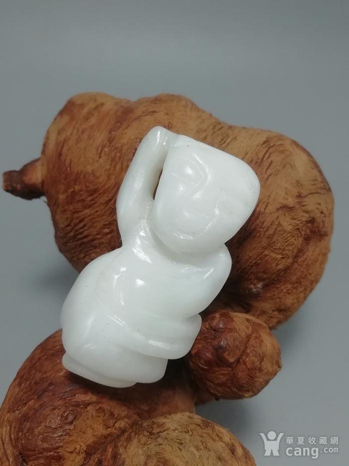 民国和田一级白籽玉 挂件 手工雕刻玉质熟润图3