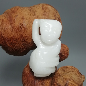 民国和田一级白籽玉 挂件 手工雕刻玉质熟润