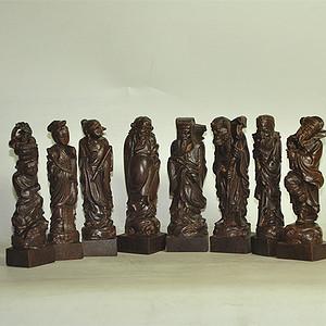 八仙木雕像一套