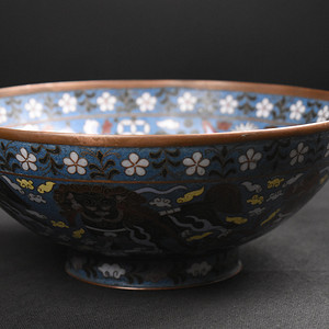 旧藏老紫铜景泰蓝大海碗