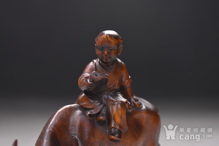 旧藏小叶黄杨木雕童子牧牛人物摆件,高12cm,品相完好,木料上乘,雕工精细,造型生动形象,包浆醇厚。 【藏品材质】:黄杨木雕是浙江地区的传统民间雕刻艺术之一,已列入第一批国家级非物质文化遗产名录。黄杨木,有木中君子之称,其生长习性和木材特性被披上一件神秘的外衣:有人说它不怕火烧,有人说它遇闰年不生长甚至缩短,其木制品被视为百毒不侵、镇恶辟邪的吉祥物。 因为种种传说,黄杨木深受人们爱戴。资深红木收藏专家董义介绍,黄杨木雕是传统木雕艺术中的一个门类,它与东阳浮雕、龙眼木雕、金漆木雕并称为中国四