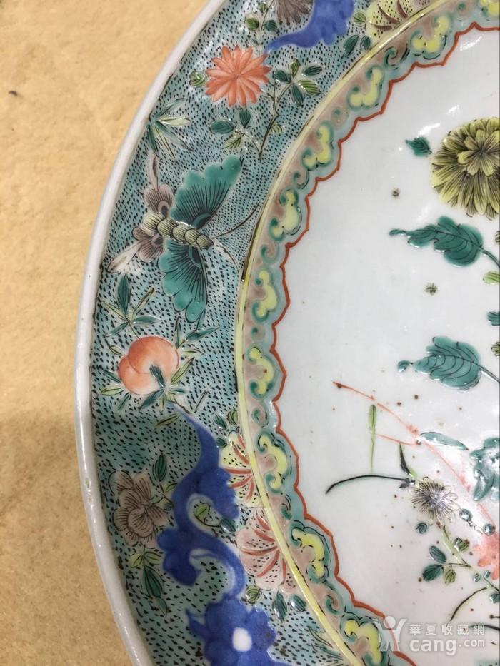 海外回流五彩花卉盘图3