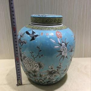 海外回流粉彩花卉罐