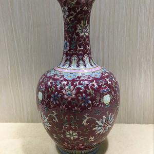 海外回流胭脂红花卉瓶