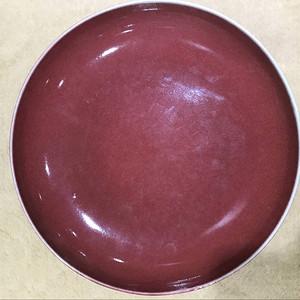 海外回流红釉盘