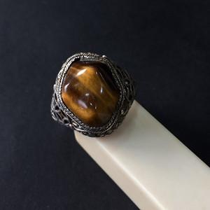 8083欧洲回流花丝镶嵌虎睛石戒指
